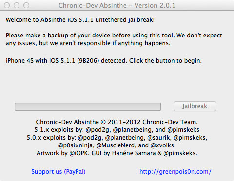 jailbreak absinthe201 How to jailbreak your iPhone or iPad running iOS 5.1.1 using Absinthe