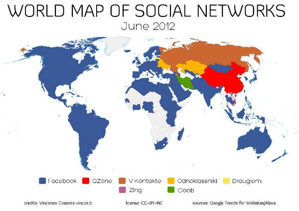 Social Network World Map - 600